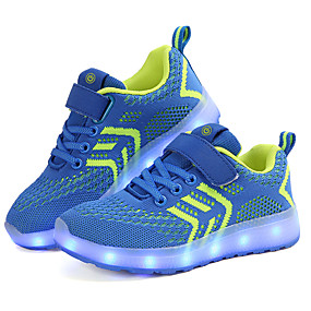 cheap Shoes & Bags-Boys' Shoes Knit Spring / Fall Light Up Shoes Athletic Shoes Walking Shoes Buckle / LED for Kids Blue / Pink / Black / Red
