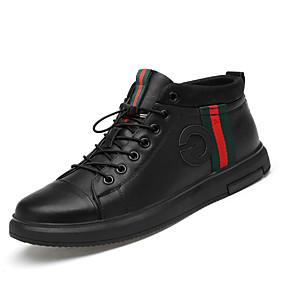 baratos Tênis Masculino-Homens Sapatos de couro Pele Primavera / Outono & inverno Casual / Formais Tênis Caminhada Não escorregar Preto