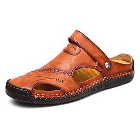 baratos Sandálias Masculinas-Homens Sapatos Confortáveis Pele Verão Casual Sandálias Água / Tênis Anfíbio Respirável Preto / Castanho Claro / Castanho Escuro