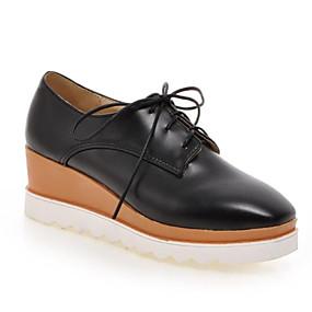 voordelige Damesschoenen met platte hak-Dames PU Lente Informeel / minimalisme Platte schoenen Sleehak Vierkante Teen Zwart / Beige / Rood