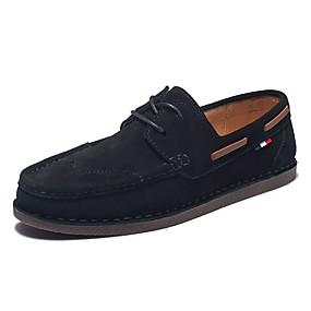 baratos Sapatos Náuticos Masculinos-Homens Sapatos de couro Camurça Primavera & Outono Vintage / Casual Sapatos de Barco Não escorregar Preto / Cinzento / Khaki