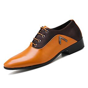 Χαμηλού Κόστους Αντρικά Oxford-Ανδρικά Παπούτσια άνεσης PU Άνοιξη & Χειμώνας Καθημερινό Oxfords Μη ολίσθηση Μαύρο / Κίτρινο