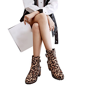 abordables Bottes Tendance-Femme Daim Automne hiver Classique / Décontracté Bottes Block Heel Bout rond Bottes Mi-mollet Boucle Marron / Léopard / Bourgogne