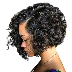 billige Curly Lace Wigs-Ekte hår Blonde Forside Parykk Bobfrisyre stil Brasiliansk hår Krøllet Parykk 130% 150% 180% Hair Tetthet med baby hår Dame Medium Lengde Blondeparykker med menneskehår