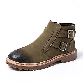 baratos Botas Masculinas-Homens Coturnos Camurça Outono Botas Botas Curtas / Ankle Bege / Cinzento / Verde