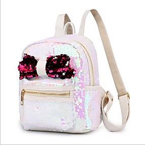 cheap Intermediate School Bags-Women's Bags Polyester Backpack Zipper White / Black / Silver