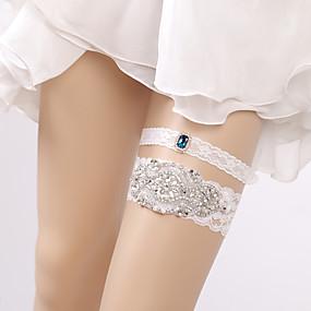 billige Strømpebånd til bryllup-Blonder Brude Bryllupsklær Med Krystalldetaljer Strømpebånd Bryllup / Fest