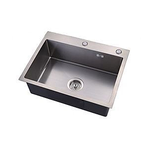 cheap Kitchen Sinks-Kitchen Sink- 304 Stainless Steel Brushed Rectangular Drop In Single Bowl