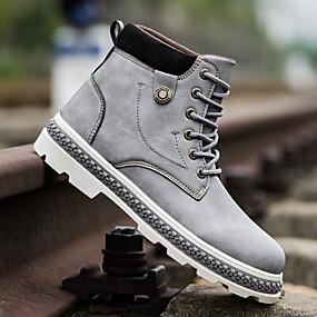 baratos Botas Masculinas-Homens Sapatos Confortáveis Couro Ecológico Outono & inverno Botas Botas Cano Médio Preto / Cinzento / Marron