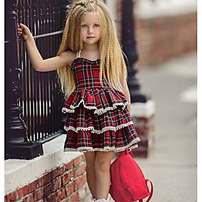 economico -0.5-Bambino Da ragazza Essenziale Quotidiano A quadri Senza maniche Standard Standard Cotone / Poliestere Vestito Blu