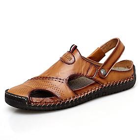 abordables Chaussures homme-Homme Chaussures en cuir Cuir Nappa Eté Simple Sandales Respirable Noir / Brun claire / Brun Foncé