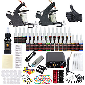 cheap Tattoos & Body Art-DRAGONHAWK Tattoo Machine Starter Kit - 2 pcs Tattoo Machines with 1 x 30 ml / 28 x 5 ml tattoo inks, Professional, Safety, Easy to Install Alloy Mini power supply Case Not Included 2 alloy machine