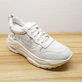 baratos Sapatos Esportivos Femininos-Mulheres Pele Napa / Com Transparência Primavera & Outono Esportivo / Casual Tênis Corrida Creepers Ponta Redonda Branco