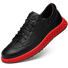 cheap Men's Sneakers-Men's Comfort Shoes Nappa Leather Spring &  Fall Sporty / Casual Sneakers Massage Black / Black / Red