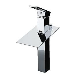 abordables Offres de la Semaine-Robinet lavabo - Jet pluie / LED Chrome Sur Pied Mitigeur deux trousBath Taps
