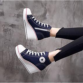 voordelige Damessneakers-Dames Sneakers Sleehak Canvas Comfortabel Lente / Herfst Zwart / Wit / Hemelsblauw / EU39