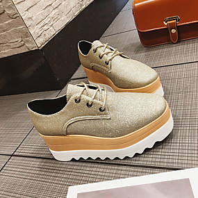 voordelige Dames Oxfords-Dames PU Lente Informeel Oxfords Creepers Ronde Teen Zwart / Zilver / Roze