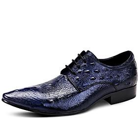 baratos Oxfords Masculinos-Homens Sapatos formais Pele Napa Primavera Negócio / Formais Oxfords Manter Quente Preto / Vinho / Azul / Impressão Oxfords / Sapatos de vestir