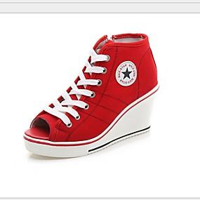 povoljno Ženske tenisice-Žene Platno Proljeće ljeto Sneakers Wedge Heel Crn / Crvena / Pink