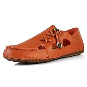 baratos Sandálias Masculinas-Homens Sapatos de Condução Microfibra Verão Casual / Formais Sandálias Respirável Preto / Branco / Laranja / Ao ar livre