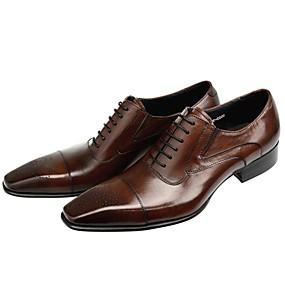 baratos Oxfords Masculinos-Homens Sapatos formais Pele Napa Outono Negócio / Casual Oxfords Massgem Preto / Marron / Casamento / Sapatas de novidade / Sapatos de vestir
