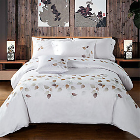 cheap Trend Duvet Covers-Duvet Cover Sets Solid Colored / Floral Cotton Embroidery 4 PieceBedding Sets