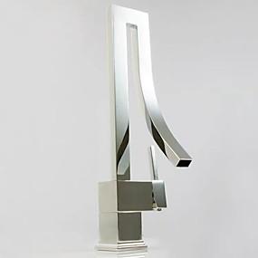 povoljno Poboljšanje uvjeta stanovanja-Kupaonica Sudoper pipa - Waterfall Chrome Središnje pozicionirane Jedan Ručka jedna rupaBath Taps