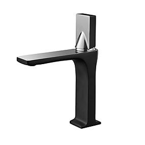 billige Ugentlige tilbud-Baderom Sink Tappekran - Utbredt Svart Bolleservant Enkelt Håndtak Et HullBath Taps / Messing