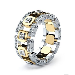 billige Nyheter-Herre Dame Ring Fuskediamant Europeisk Motering Smykker Gull Til Daglig