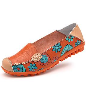 voordelige Damesschoenen met platte hak-Dames Rubber / Leer Lente & Herfst Klassiek / Informeel Platte schoenen Platte hak Ronde Teen Geel / Fuchsia / Blauw