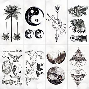 voordelige tattoo stickers-8 pcs Tijdelijke tatoeages Waterbestendig / Beste kwaliteit Gezicht / handen / brachium Tatoeagestickers