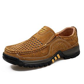baratos Sapatilhas e Mocassins Masculinos-Homens Sapatos de couro Pele Napa Primavera Verão Negócio / Casual Mocassins e Slip-Ons Respirável Marron / Khaki