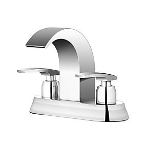 Недорогие Смесители-Ванная раковина кран - Водопад Хром По центру Две ручки три отверстияBath Taps