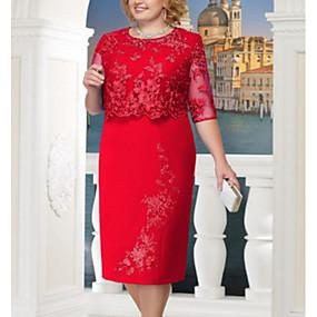 povoljno Crvene haljine-Žene Veći konfekcijski brojevi Elegantno Korice Haljina - Čipka, Jednobojni Midi / Party