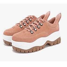 baratos Sapatos Esportivos Femininos-Mulheres Pele Napa Primavera Tênis Caminhada Creepers Preto / Marron / Rosa claro