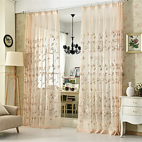 cheap Sheer Curtains-Contemporary Sheer One Panel Sheer Living Room   Curtains / Embroidery