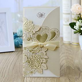 abordables Petits Cadeaux de Fête-Format Enveloppe & Poche Faire-part mariage 10pcs - Cartes d'invitation Style floral Papier nacre 21.5*11.5 cm Noeud en satin
