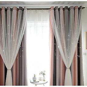 billige Mørkleggingsgardiner-Moderne Blackout Et panel Curtain & Sheer Soverom   Curtains
