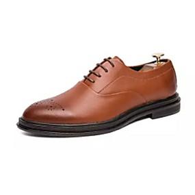 baratos Oxfords Masculinos-Homens Sapatos Confortáveis Couro Ecológico Primavera Verão Casual Oxfords Não escorregar Preto / Marron