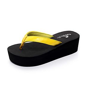 cd20762a18 Mulheres Couro Ecológico Verão Casual   Minimalismo Chinelos e flip-flops  Caminhada Salto Plataforma Amarelo