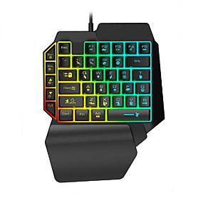 رخيصةأون وصل حديثاً-LITBest K15 USB سلكي لوحة مفاتيح الألعاب ميني الألعاب موضوع لون الخلفية 35 pcs مفاتيح