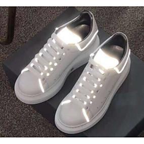 baratos Sapatos Esportivos Femininos-Mulheres Couro Envernizado Primavera Tênis Corrida Sem Salto Branco