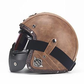 povoljno 90%OFF-unisex pu kožna kacige 3/4 moto chopper biciklistička kaciga otvorena lica vintage motociklistička kaciga s naočalom za masku