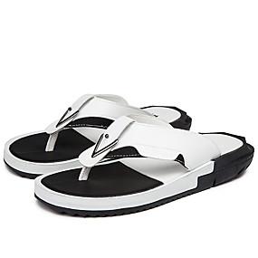 abordables Pantuflas y Chancletas para Hombre-Hombre Zapatos Confort PU Verano Casual Zapatillas y flip-flops Transpirable Blanco / Negro