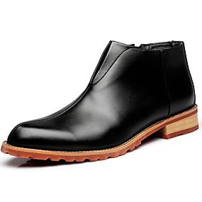 baratos Botas Masculinas-Homens Fashion Boots Couro Envernizado Inverno / Outono & inverno Clássico / Casual Botas Manter Quente Botas Curtas / Ankle Preto / Vinho / Marron / Escritório e Carreira / Coturnos