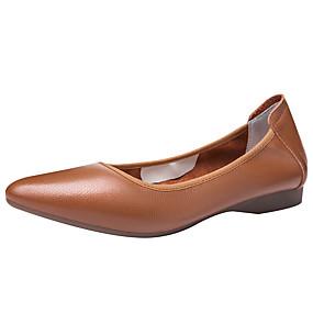 voordelige Damesschoenen met platte hak-Dames Platte schoenen Comfort schoenen Platte hak Gepuntte Teen Leer Klassiek / minimalisme Lente & Herfst / Zomer Wit / Zwart / Bruin