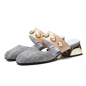 0fdd6fc13c773 Women's Clogs & Mules Chunky Heel Square Toe Imitation Pearl PU(Polyurethane)  Vintage / British Summer Gray / Pink / Party & Evening