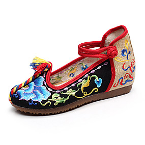 voordelige Damessneakers-Dames Canvas Lente & Herfst / Lente zomer Vintage / Chinoiserie Sneakers Verborgen hiel Ronde Teen Gesp Zwart / Rood / Blauw
