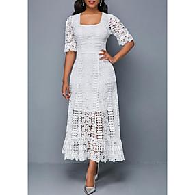 cheap Weekly Clearance Sale-Women's Maxi Sheath Dress - Floral Print Square Neck Lace White Black S M L XL