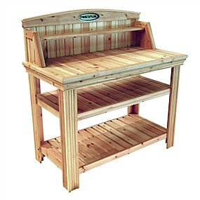cheap Accent Furniture-natural cedar wood potting bench garden work table with shelves